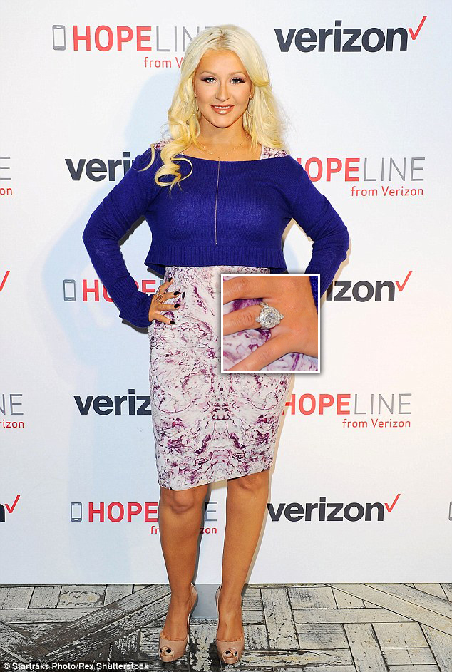 http://www.dailymail.co.uk/tvshowbiz/article-3316449/Christina-Aguilera-dons-skintight-dress-cropped-sweater-HopeLine-event-against-Domestic-Violence.html
